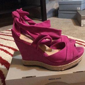 UGG Shoes - Ugg hot pink  Suede Peep Toe Platform Sandals